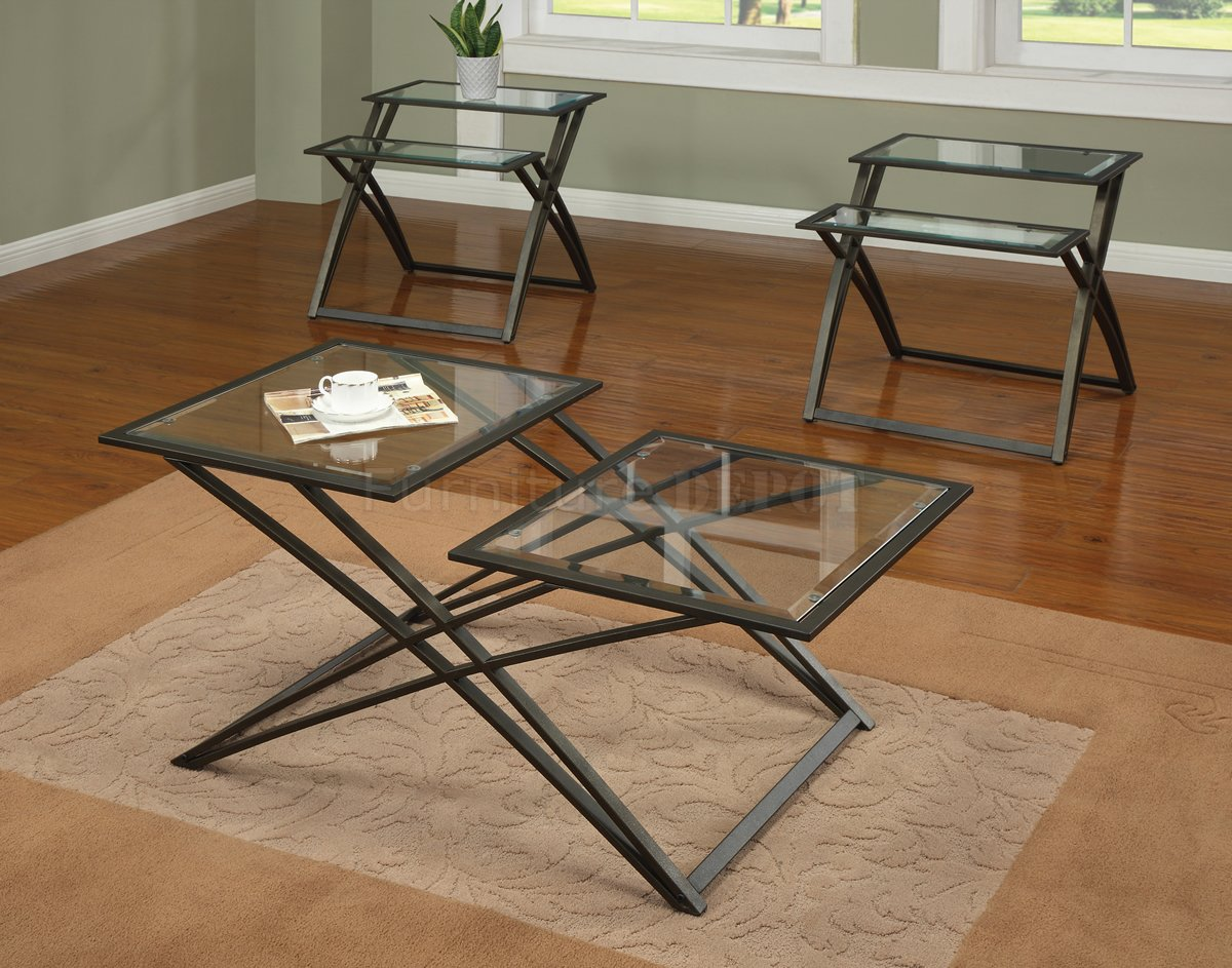 Glass Top Metal Base Coffee Table Glass Top Gold Tone Metal Base Modern 3pc Coffee Table Set Brown Tripod Base (View 4 of 10)