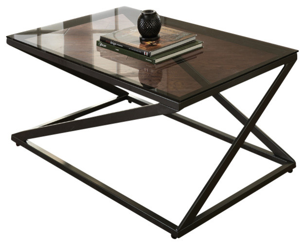 Glass Top Metal Base Coffee Table Steve Silver Darius 3 Piece Glass Top Coffee Table Set With Metal Base Traditional (View 8 of 10)
