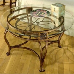 Glass Top Metal Base Coffee Table With An Openwork Cast Metal Base And A Floral Design Industrial Revolution (View 10 of 10)