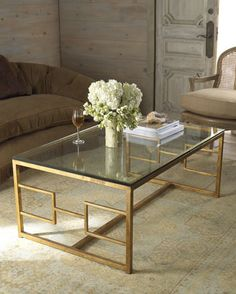 Glass Top Metal Coffee Table Hand Wrought Iron Coffee Table With Gold Leaf Finish At Horchow I Love Glass Tables The Light Shines Thru Reflects (View 4 of 10)