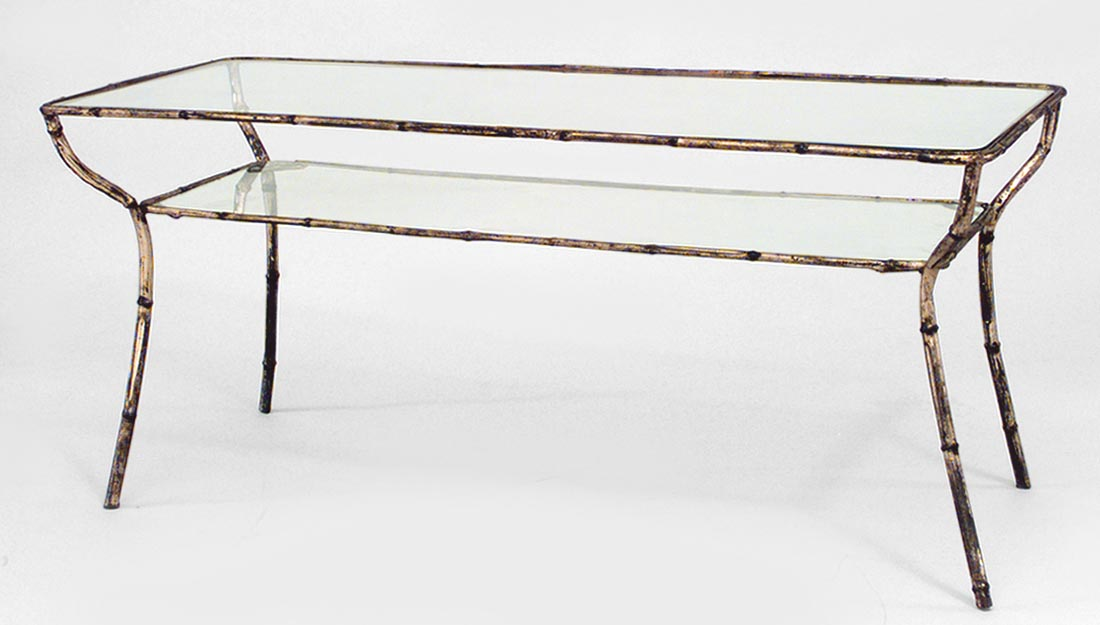 Glass Top Metal Coffee Table Rectangular Wrought Iron Coffee Table With Distressed Antiqued Gold Leaf Finish And Glass Top (View 7 of 10)