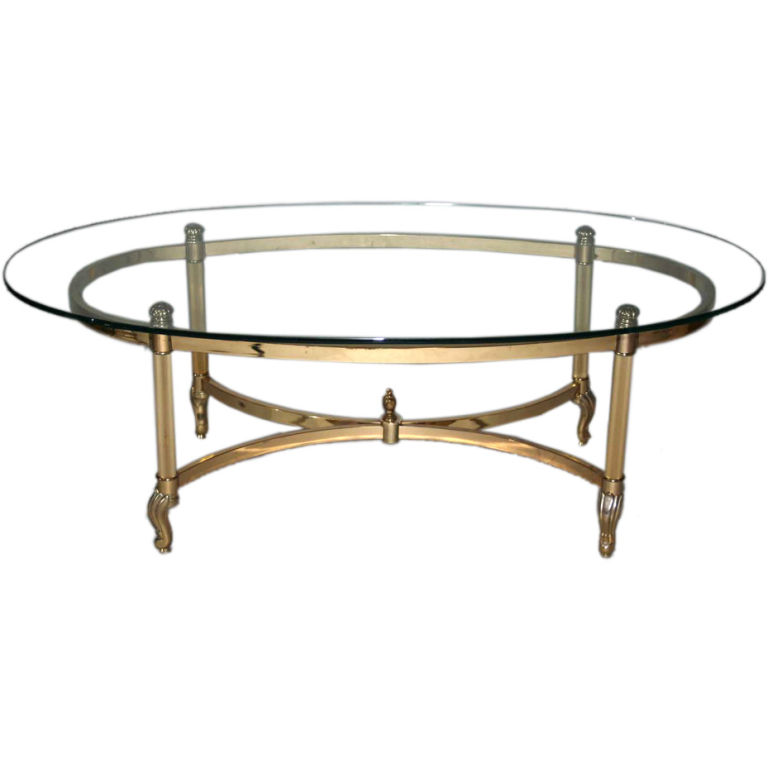 glass-top-oval-coffee-table-brass-chrome-glass-oval-hoof-foot-coffee-table-regency-modern-la-barge (Image 2 of 9)