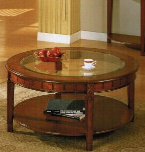 Glass Top Round Coffee Table 5mm Tempered Glass Top Round Coffee Table In Cherry Finish Modern Contemporary Style (Image 3 of 10)