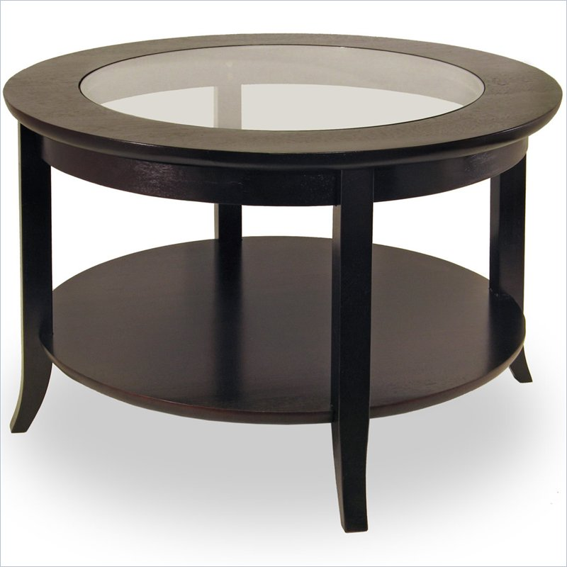 Glass Top Round Coffee Tables Genoa Round Wood Coffee Table With Glass Top In Dark Espresso (View 5 of 10)