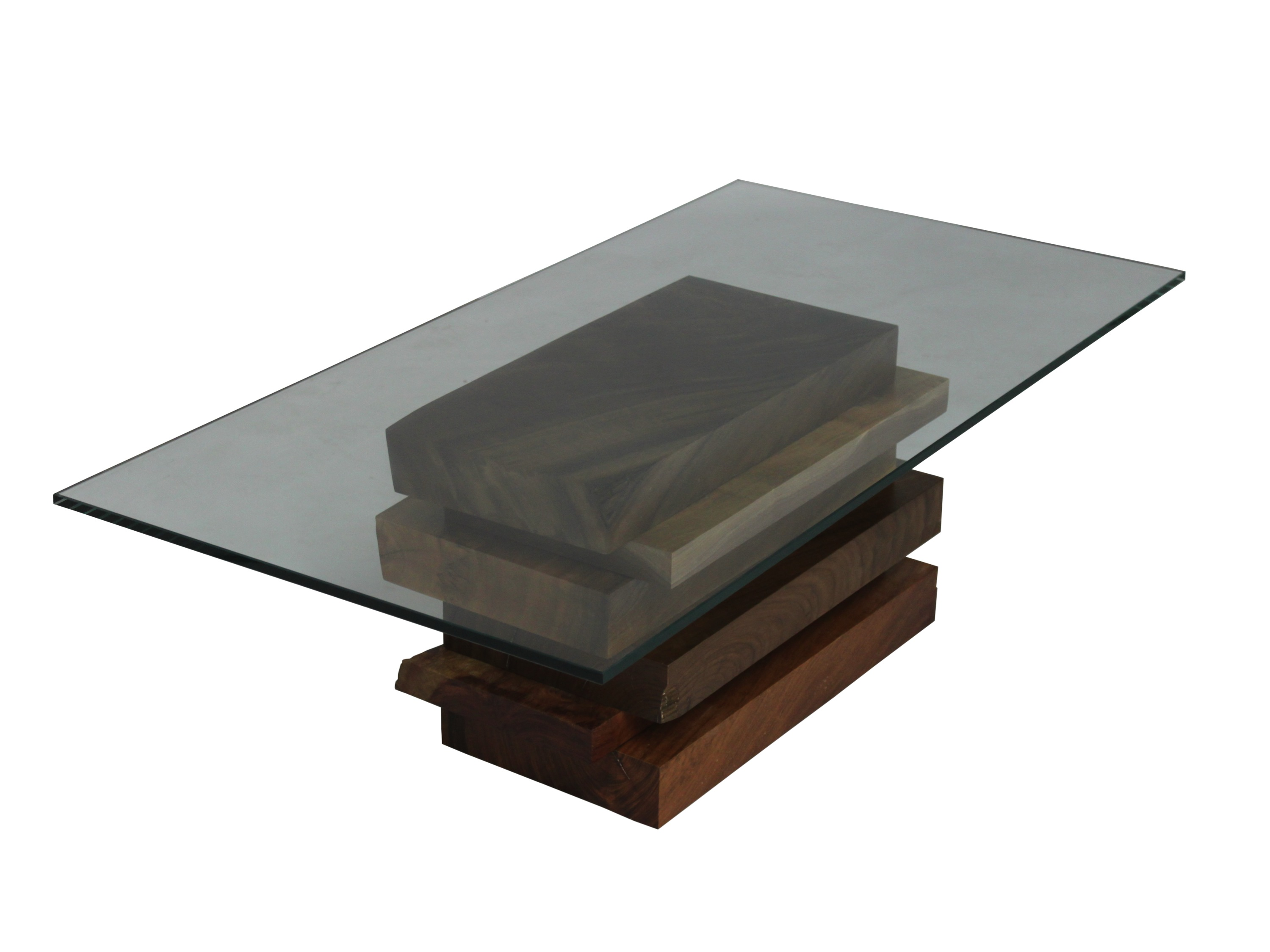 Glass Top Wood Coffee Table Made With Salvaged Wood Slabs In Raw Edge Or Straight Edges Simple Design Unique (Image 4 of 10)