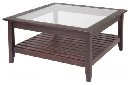 Glass Top Wood Coffee Table Standard Furniture Melrose Square Glass Top Cocktail Table In Rich Dark Merlot (Image 7 of 10)