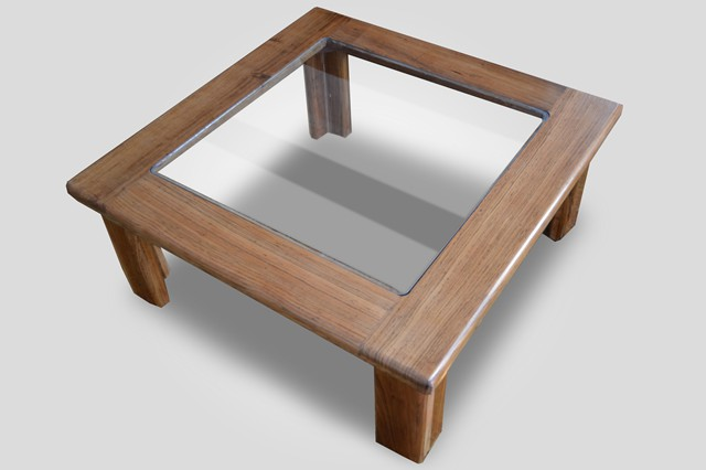 Glass Top Wooden Coffee Table Teak Square Legs Glass Top Solid Saligna Coffee Table Turned Fluted Leg Marble (Image 7 of 10)