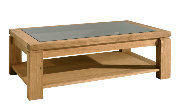 Glass Top Wooden Coffee Table The Eos Solid Oak Coffee Table Has A Lovely Thick Top And Smart Glazed Panel Inserted In The Top (Image 8 of 10)
