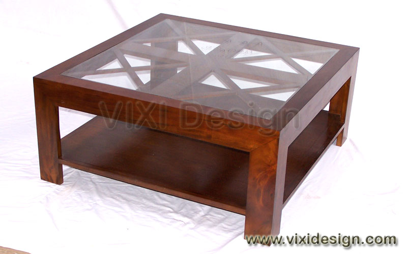 Glass Top Wooden Coffee Table With A Hardwood Lattice Base By Izm 1 Sofa Set Classic Reproduction Mahogany Furniture (Image 10 of 10)