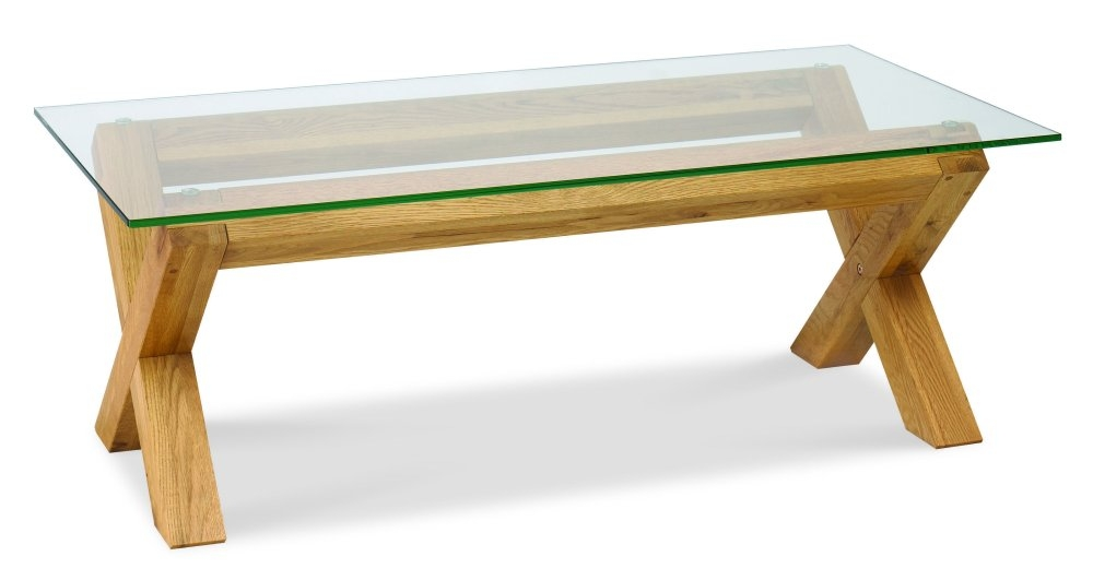 Glass Topped Coffee Table Valencia Oak Square Legs And 4 By Top Frame Rebated To Take A 6mm Glass Top It Has Been Finished (View 10 of 10)