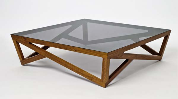 Glass Wood Coffee Table 3D Model Of Rectangle