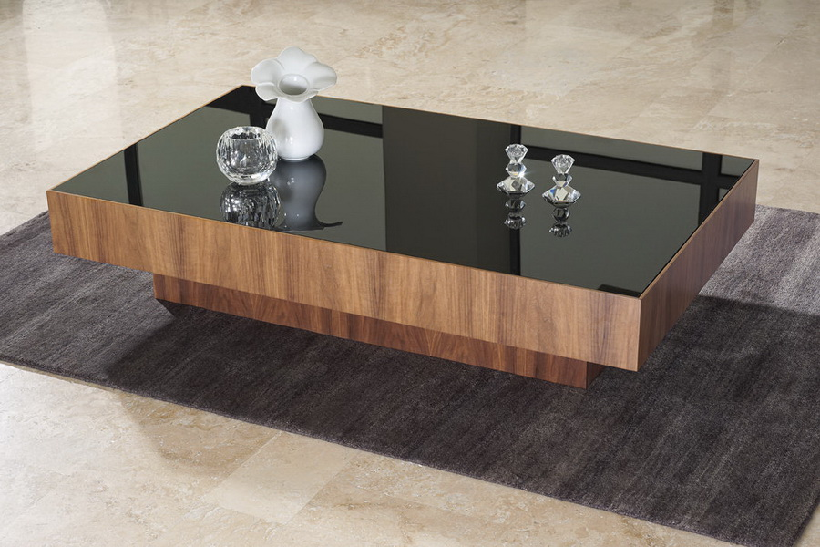 Glass Wood Coffee Table Black Glass Coffee Table Design Contemporary Living Room Furniture Design (View 3 of 10)