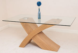 Glass Wood Coffee Table Valencia Small Glass Dining Room Table Wood Cross Leg Style Modern Interiors (View 10 of 10)