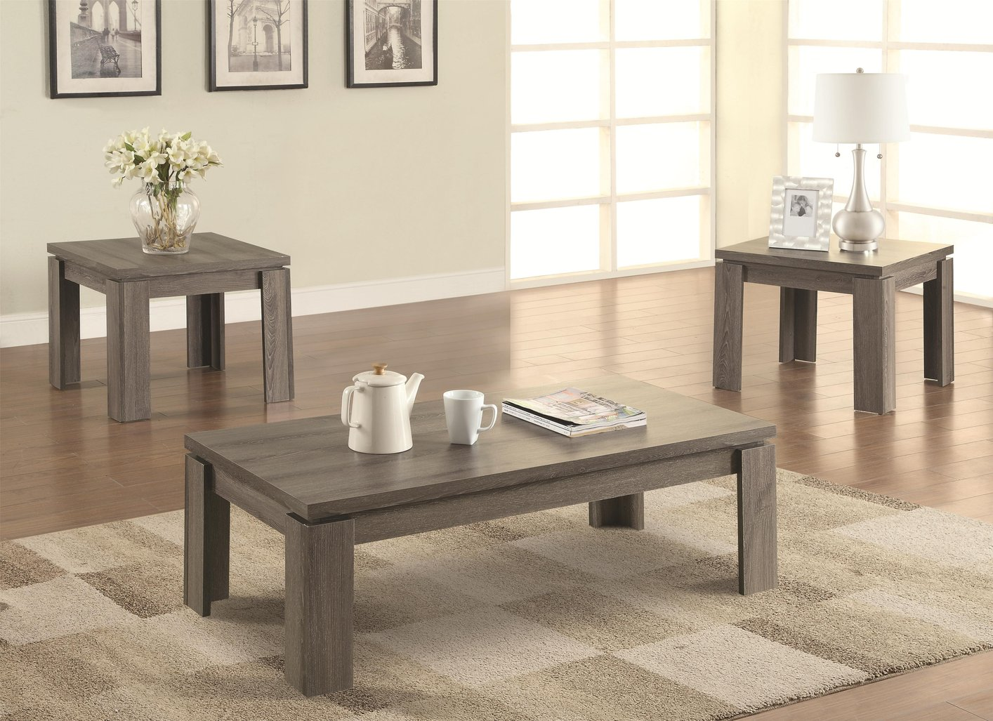 Grey Wood Coffee Table Set Coaster 701686 Grey Wood Coffee Tables Dark Grey Wood Furnish Stained Square Shape (Image 9 of 10)