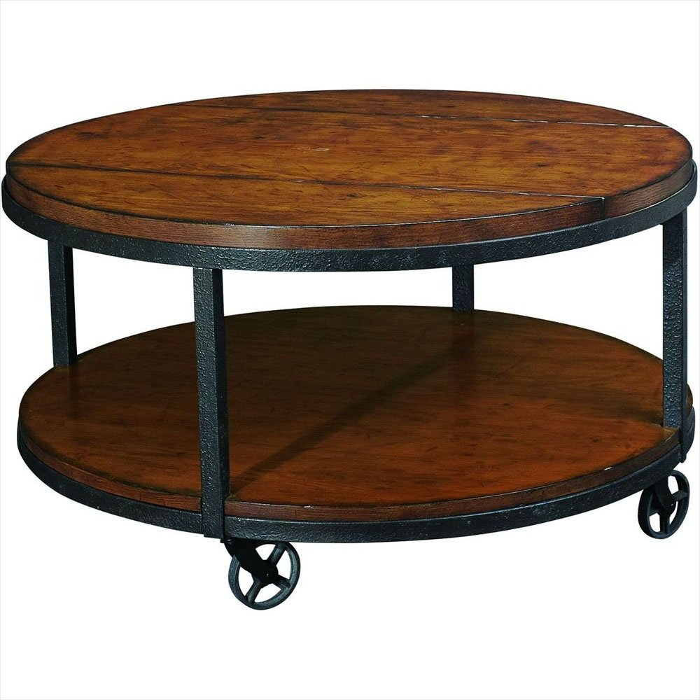 2018 Latest Large Round Coffee Table with Wheels