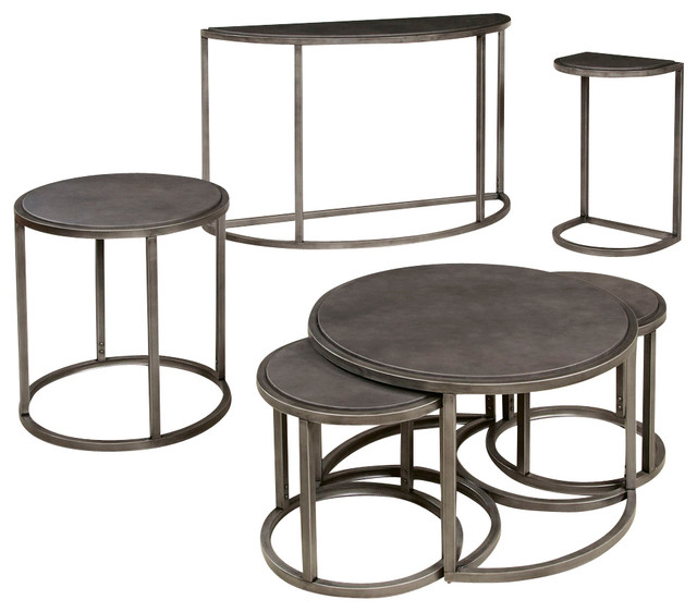 Hammary Rotation 4 Piece Round Coffee Table Set With Metal Base Traditional Coffee Table Round Coffee Table Sets (Image 5 of 10)