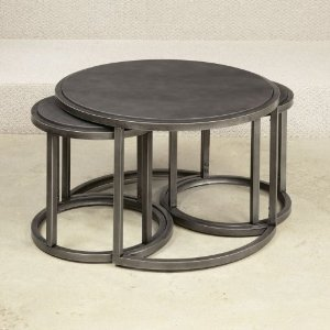 Hammary Rotation Round Cocktail Nesting Table With Metal Base Nesting Coffee Table Round Coffee Table With Nesting Stools (Image 5 of 10)