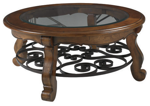 Hammary Siena Round 2 Piece Glass Top Coffee Table Glass Top Round Coffee Tables Round Brown Elegant Varnished Wooden Coffee Table (View 6 of 10)