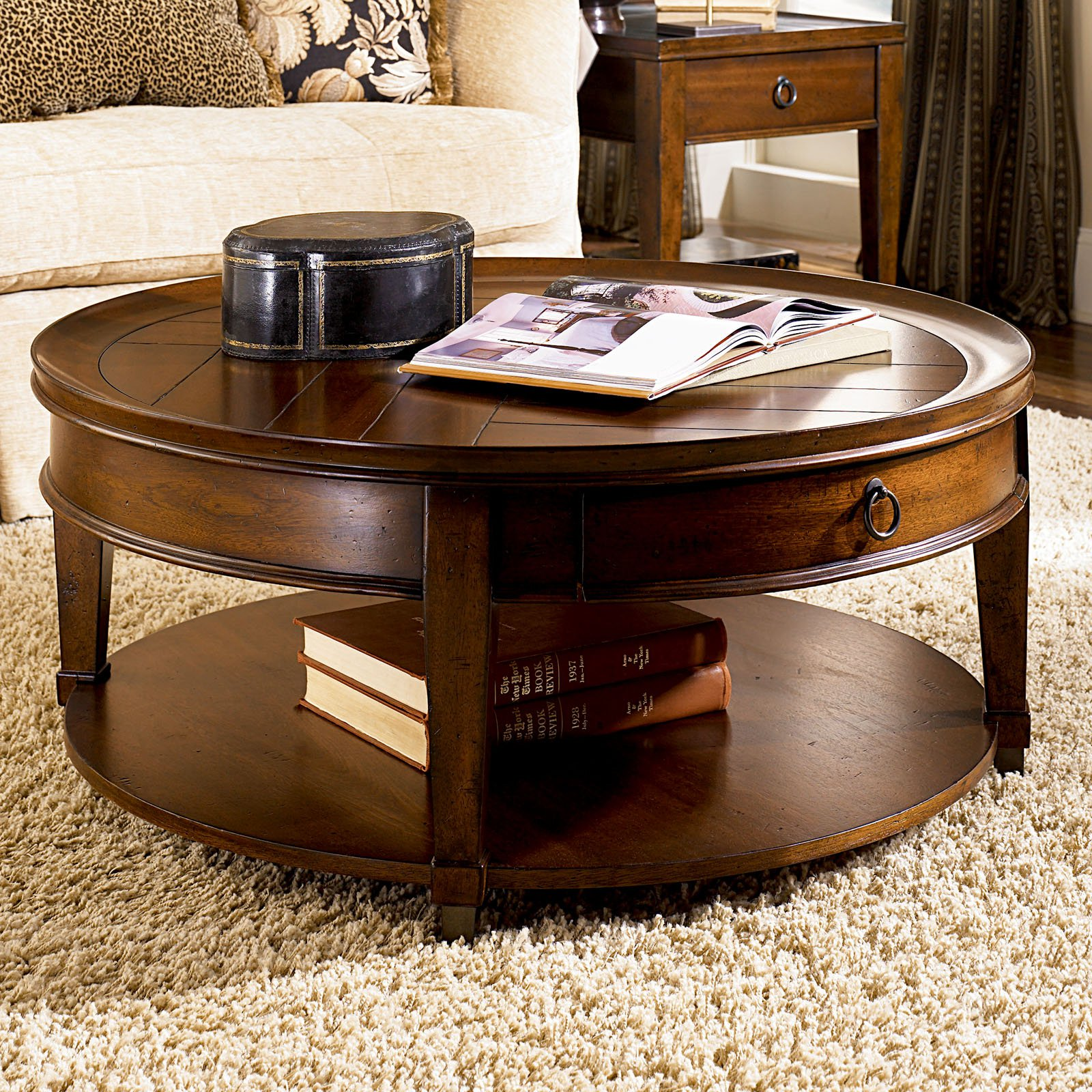 hammary-sunset-valley-round-cocktail-table-round-mahogany-coffee-table-mahogany-coffee-table-set-round-mahogany-end-table (Image 5 of 10)
