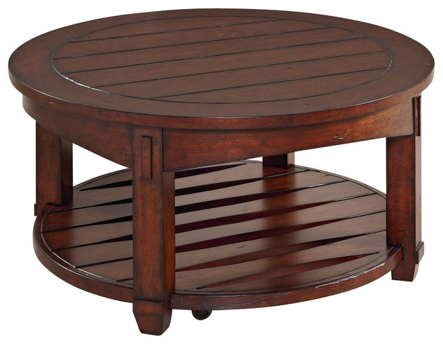 hammary-tacoma-round-cocktail-table-in-rustic-brown-shop-rustic-bench-coffee-table-product-rustic-round-coffee-table (Image 2 of 10)