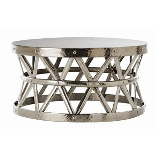 Hammered Drum Cross Silver Coffee Table Round Glass Top Metal Coffee Table Round Metal Coffee Tables (Image 2 of 10)