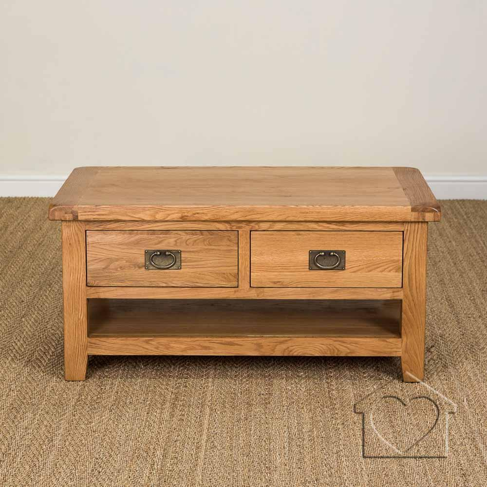 Heritage Rustic Oak Large Coffee Table With 2 Drawers And Shelf Rustic Oak Coffee Tables (View 4 of 10)