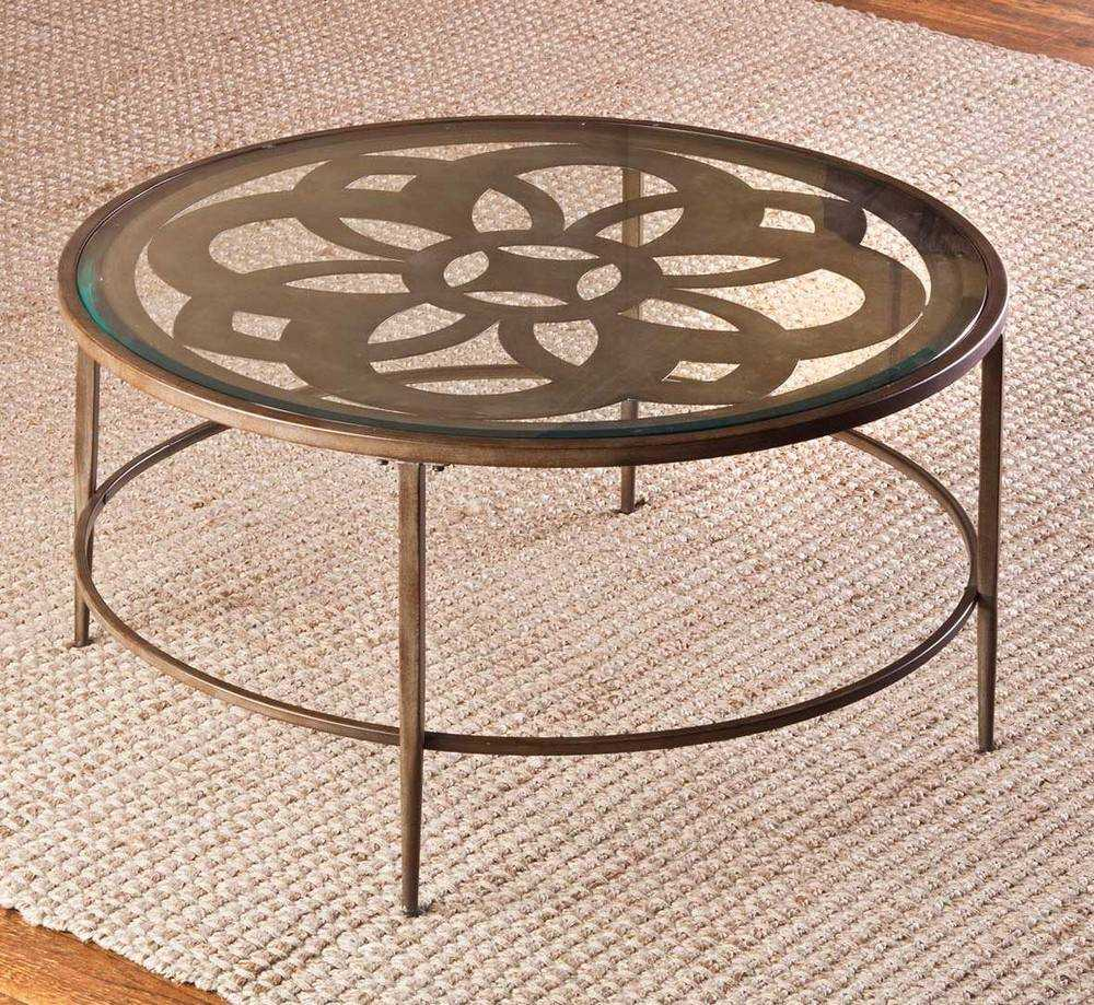Hillsdale Marsala 36 Inch Round Coffee Table In Copper Beautiful Top Glass With Flower Pattern And 4 Legs Coffee Table (View 4 of 10)