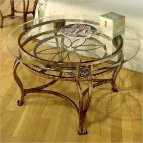 Hillsdale Scottsdale Round Glass Top Coffee Table In Brown Rust Finish Glass Top End Tables Metal Round Metal Coffee Table With Glass Top (Image 3 of 10)