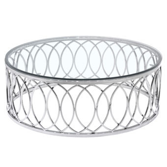 Hula Accent Table Round Glass Top Polished Metal Round Metal Coffee Table With Glass Top Steel And Glass Coffee Tables (Image 4 of 10)