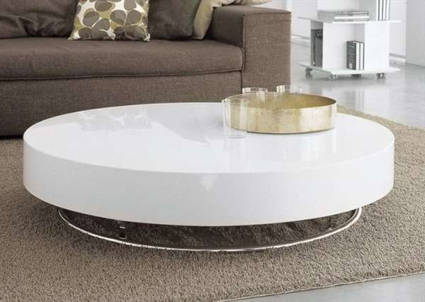 Ike White Coffee Table Modern White Round Coffee Table Living Room Decor Ideas White Top Coffee Table (Image 2 of 10)