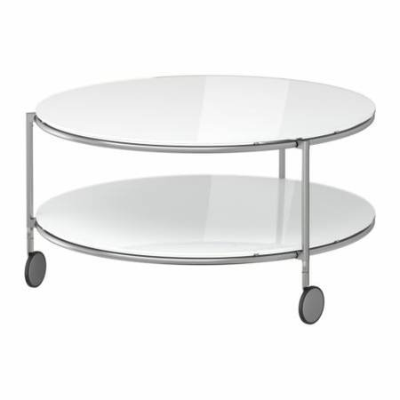Ikea Strind Round Glass Coffee Table On Wheels Round Coffee Table With Wheels Tables On Wheels With Storage (Image 2 of 10)