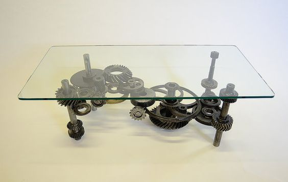 Industrial Glass Coffee Table Industrial Gears Table Gears Coffee Table Gears Sculptural Steampunk Decoration (View 2 of 9)
