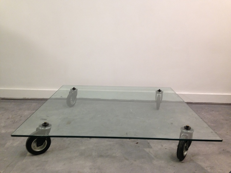 Industrial Glass Coffee Table Wannenes Art Auctions Glass Table W Wheels Tavolo (View 7 of 9)
