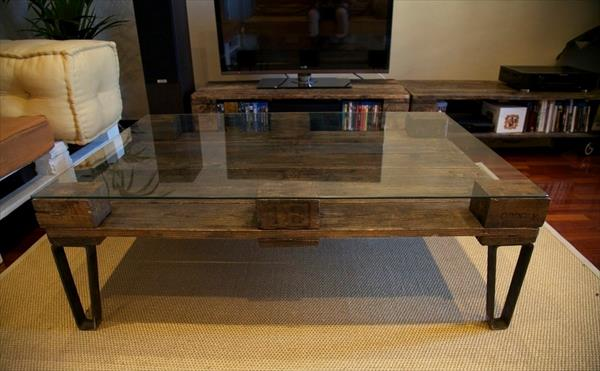 Industrial Glass Coffee Table Recycled Pallet Industrials Coffee Tables Oak Wooden Interiors Designs (View 5 of 9)