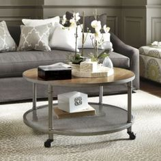 Industrial Round Coffee Table Coffee Tables On Wheels Are Hard To Find Round Coffee Table With Wheels (Image 3 of 10)