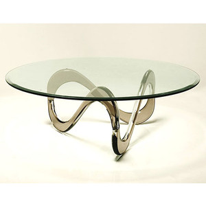 Infinity Acrylic Coffee Table With Round Beveled Glass Top Luxury Glass Top Round Coffee Tables (View 7 of 10)