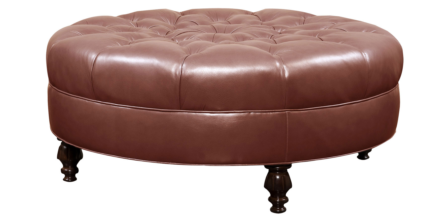 Ives Designer Style Leather Large Round Tufted Ottoman Round Fabric Ottoman Coffee Table Leather Ottomans And Coffee Table Storage (View 2 of 10)
