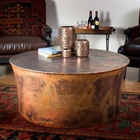 View Gallery Of Hammered Round Copper Coffee Table Showing Of - Copper drum coffee table