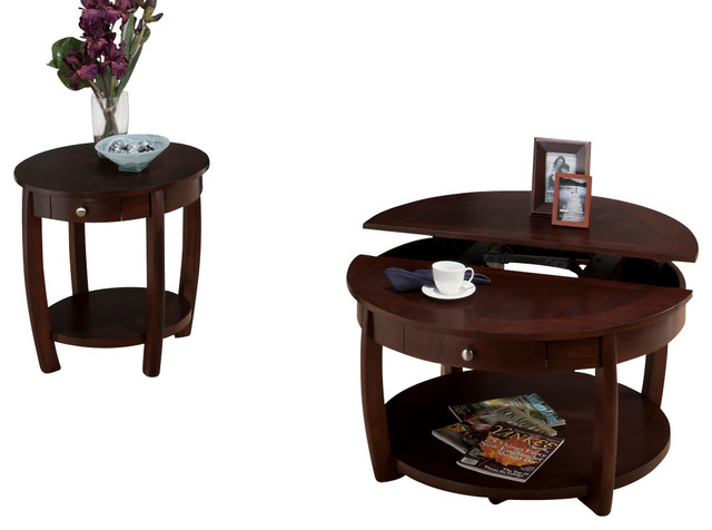Jofran 436 2 Riverside 3 Piece Round Coffee Table Set With Drawer And Casters Round Coffee Table Sets Large Round Coffee Table (View 7 of 10)