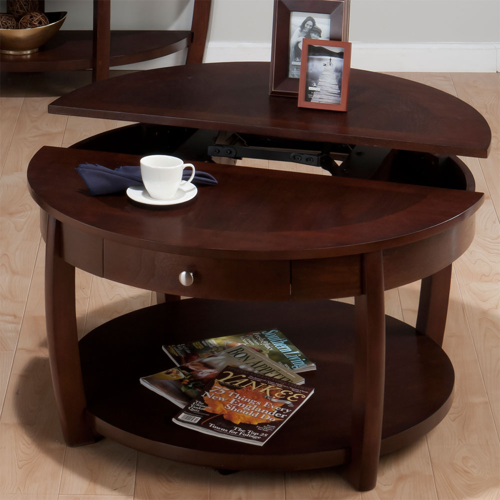Jofran Riverside Brown Walnut 38 Inch Round Cocktail Table With Shelf Drawer Casters And Lift Top Round Wooden Coffee Table With Drawers (Image 4 of 10)