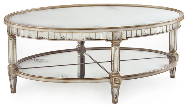 Kendrick Hollywood Regency Silver Antique Mirror Coffee Table Transitional Coffee Tables Mirrored Coffee Table Round (Image 4 of 10)