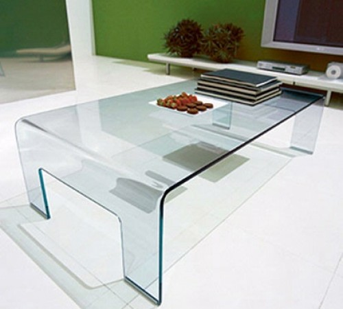 Large Glass Coffee Tables Modern Square Bent Glass Coffee Table Ice 687 00 The Coffee Table Is Elegant (Image 4 of 9)