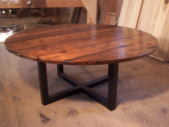 Large Round Coffee Table With Industrial Metal Base Large Round Coffee Tables Coffee Tables And End Tables (View 7 of 10)