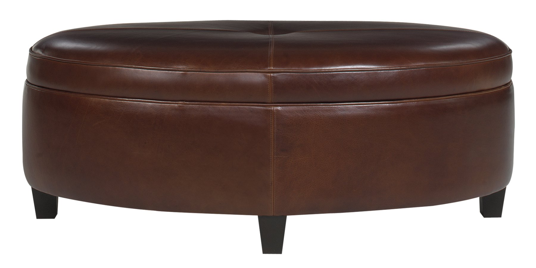 Large Round Leather Ottoman Coffee Table Avery Designer Style Leather Upholstered Oversized Oval Storage Ottoman (View 5 of 10)