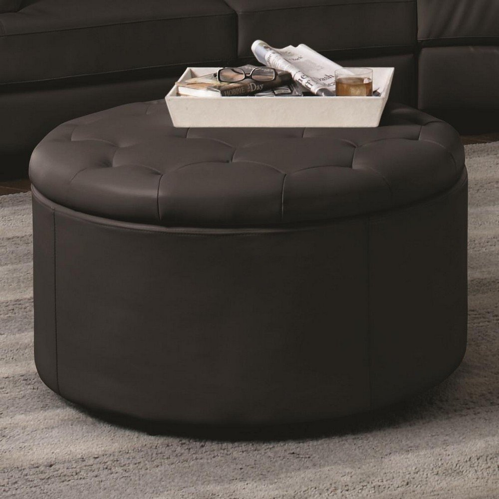 Large Round Leather Storage Ottoman With Button Tufted Seat In Black Round Leather Ottoman Coffee Table Design Ideas (View 2 of 10)