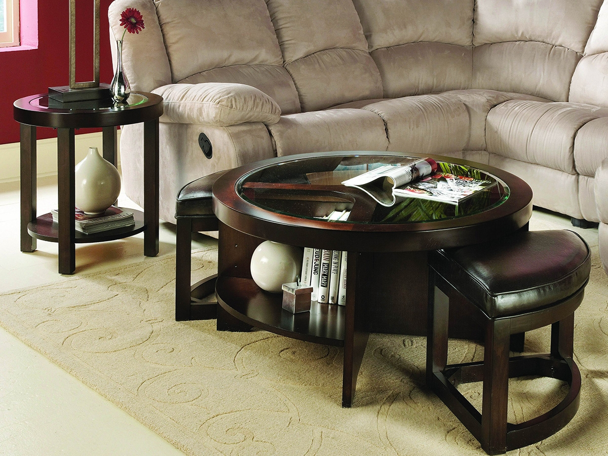 Large Round Ottoman Coffee Table Round Ottomans Coffee Tables Elegant Brown Wooden Round Glass Coffee Table Round Ottomans Coffee Tables (Image 3 of 10)
