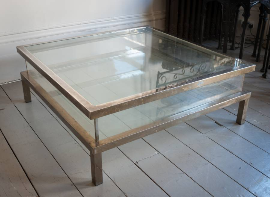 Large Square Glass Coffee Table An Articulated Display Coffee Table Worn Chrome On Brass With Glass Top And Bottom With Perspex Sides (View 3 of 10)