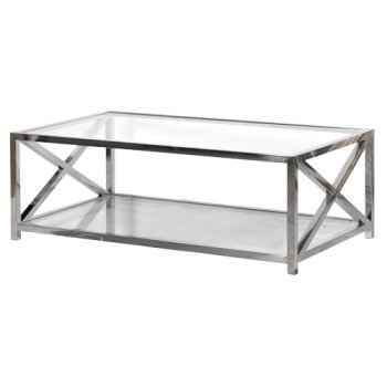Large Square Glass Coffee Table Premier Housewares X Frame Tables In Glass And Stainless Steel Unique Designs (View 8 of 10)