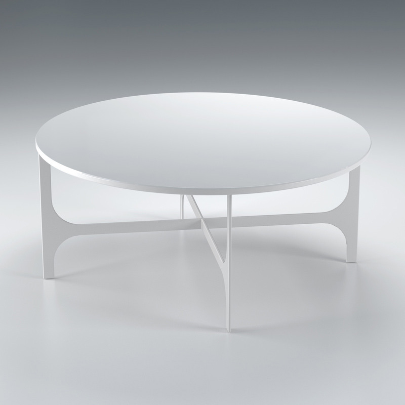Laser Cut Steel Frame Shown With White Solid Surface And Stone Top With Black Glass Shelf Below White Round Coffee Table (Image 2 of 10)
