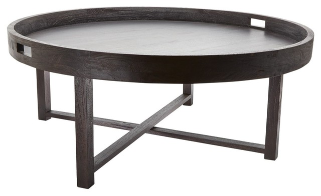 Lazy Susan Round Black Teak Coffee Table Tray Style Is Brewing Shop Round Tray Coffee Table Ideas Round Black Coffee Table (Image 3 of 10)